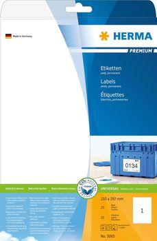 HERMA 5065 Etiketten Premium A4 weiß 210x297 mm Papier matt 25