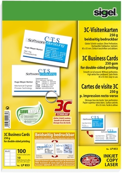 Sigel Visitenkarten A4 100 Stück Beidseitig Weiß Bcb S A