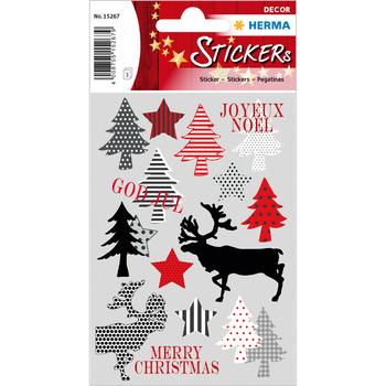 Herma DECOR Sticker Adventskalendersticker 1-24 Schwarz Goldprägung