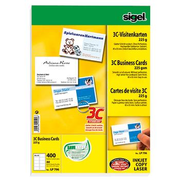 Sigel Visitenkarte 3c Lp796 85x55mm 225g Weiß 400 St Pack