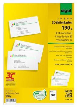 Sigel Visitenkarten 3c Glatter Schnitt Rundum 190 G Qm