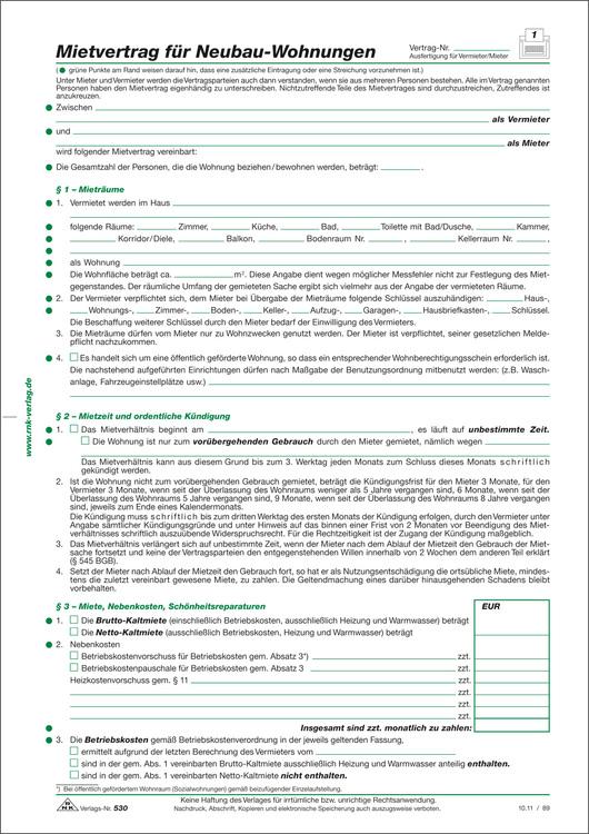 Rnk Verlag Mietvertrag Für Neubau Wohnungen 4 Seiten Gefalzt Auf