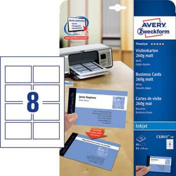 Avery Zweckform C32015 10 Premium Visitenkarten 85 X 54 Mm